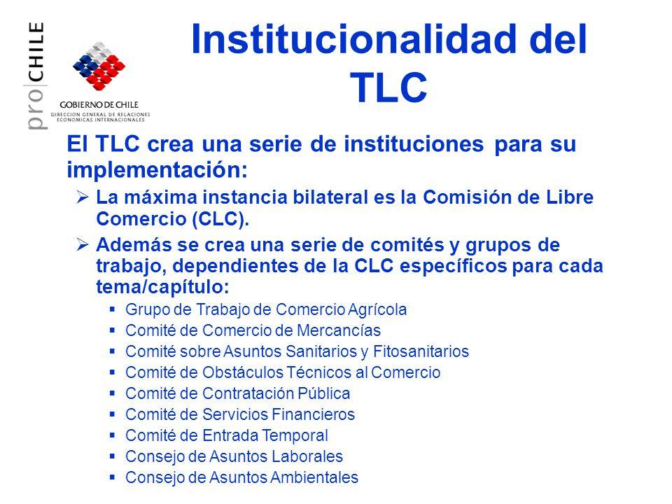 Institucionalidad del TLC El TLC crea una serie de instituciones para su implementación: La máxima instancia bilateral es la Comisión de Libre Comercio (CLC).