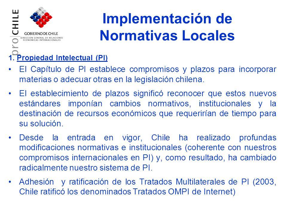 Cont… Avances en desarrollo: Para el año 2007 Chile adherirá al PCT (ingreso al congreso 10 de Abril) En mayo ingresó al Congreso un proyecto de ley para modificar la ley de propiedad intelectual para, entre otros, mejorar el sistema de sanciones a los delitos de piratería.