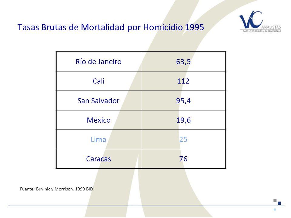 Tasas Brutas de Mortalidad por Homicidio 1995 Río de Janeiro63,5 Cali112 San Salvador95,4 México19,6 Lima25 Caracas76 Fuente: Buvinic y Morrison, 1999 BID