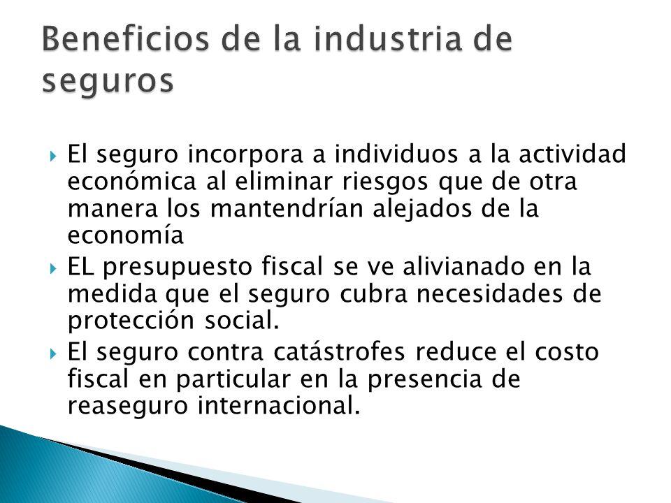 El seguro incorpora a individuos a la actividad económica al eliminar riesgos que de otra manera los mantendrían alejados de la economía EL presupuesto fiscal se ve alivianado en la medida que el seguro cubra necesidades de protección social.