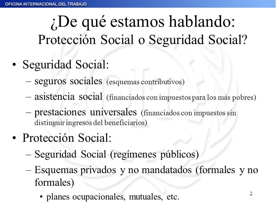2 ¿De qué estamos hablando: Protección Social o Seguridad Social? Seguridad Social: –seguros sociales (esquemas contributivos) –asistencia social (fin