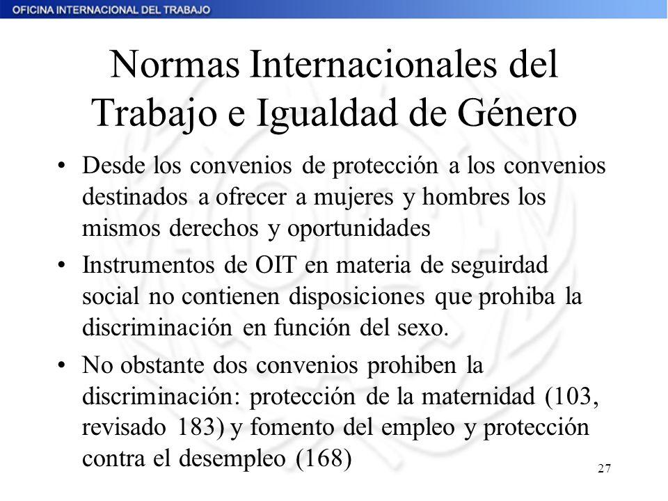 27 Normas Internacionales del Trabajo e Igualdad de Género Desde los convenios de protección a los convenios destinados a ofrecer a mujeres y hombres
