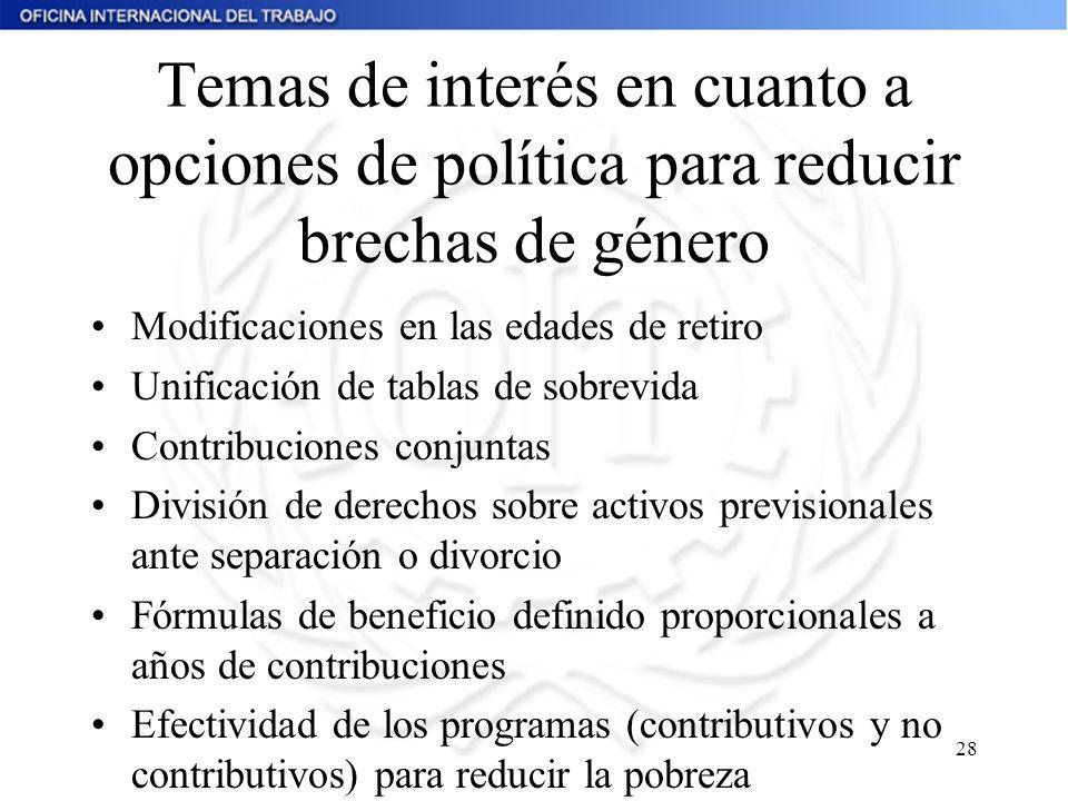 28 Temas de interés en cuanto a opciones de política para reducir brechas de género Modificaciones en las edades de retiro Unificación de tablas de so
