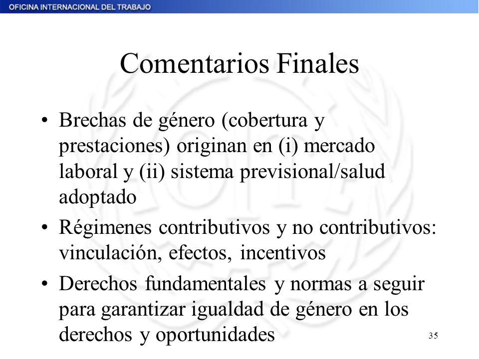 35 Comentarios Finales Brechas de género (cobertura y prestaciones) originan en (i) mercado laboral y (ii) sistema previsional/salud adoptado Régimene