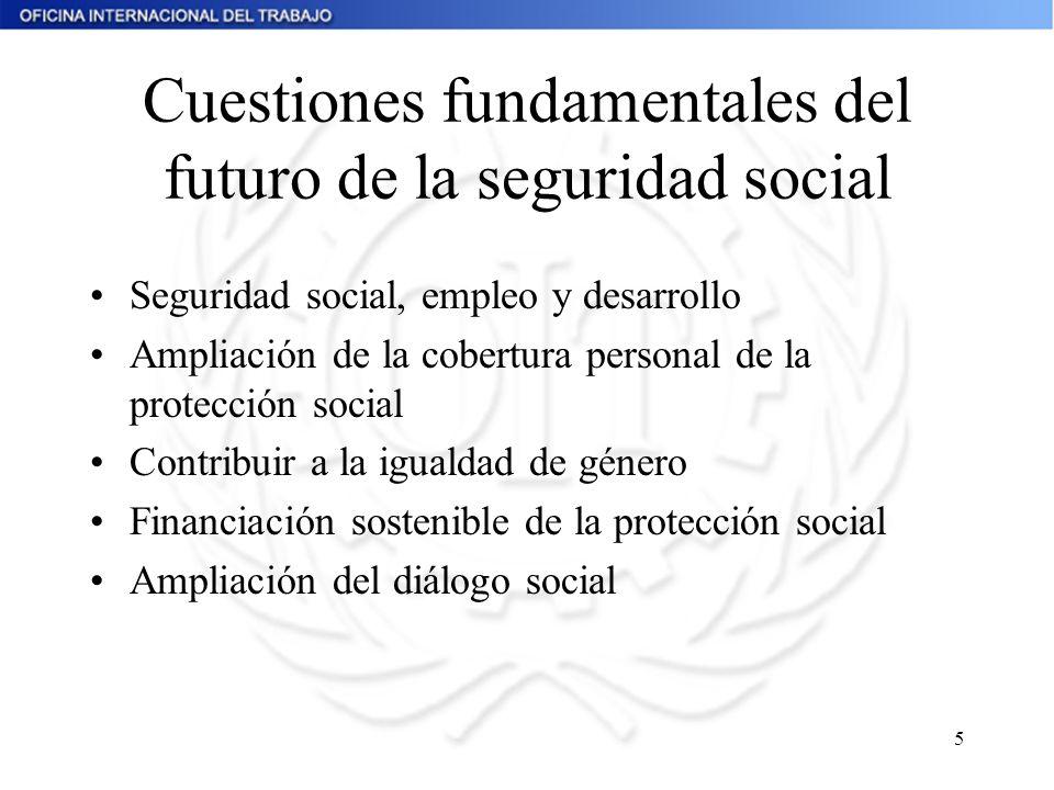 5 Cuestiones fundamentales del futuro de la seguridad social Seguridad social, empleo y desarrollo Ampliación de la cobertura personal de la protecció