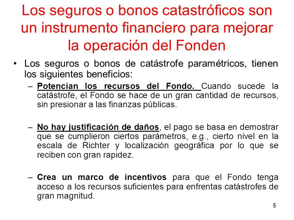 5 Los seguros o bonos catastróficos son un instrumento financiero para mejorar la operación del Fonden Los seguros o bonos de catástrofe paramétricos, tienen los siguientes beneficios: –Potencian los recursos del Fondo.