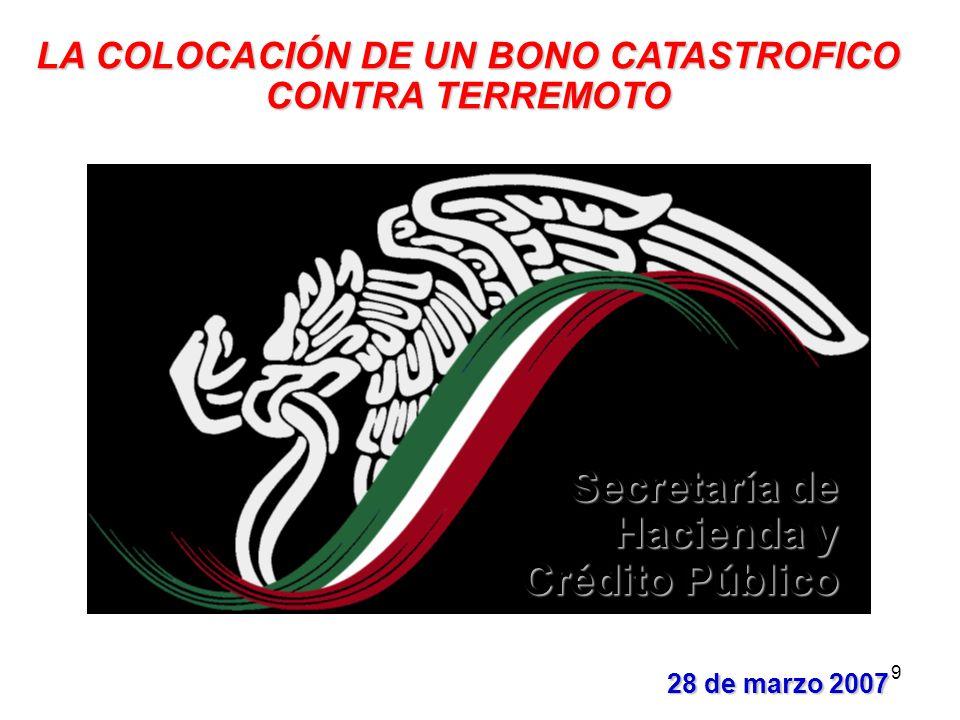 9 28 de marzo 2007 28 de marzo 2007 LA COLOCACIÓN DE UN BONO CATASTROFICO CONTRA TERREMOTO Secretaría de Hacienda y Crédito Público