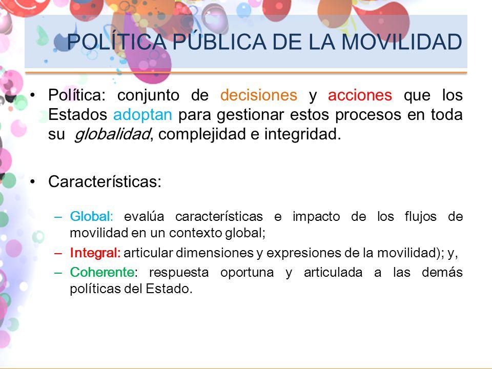 POLÍTICA PÚBLICA DE LA MOVILIDAD Política: conjunto de decisiones y acciones que los Estados adoptan para gestionar estos procesos en toda su globalid