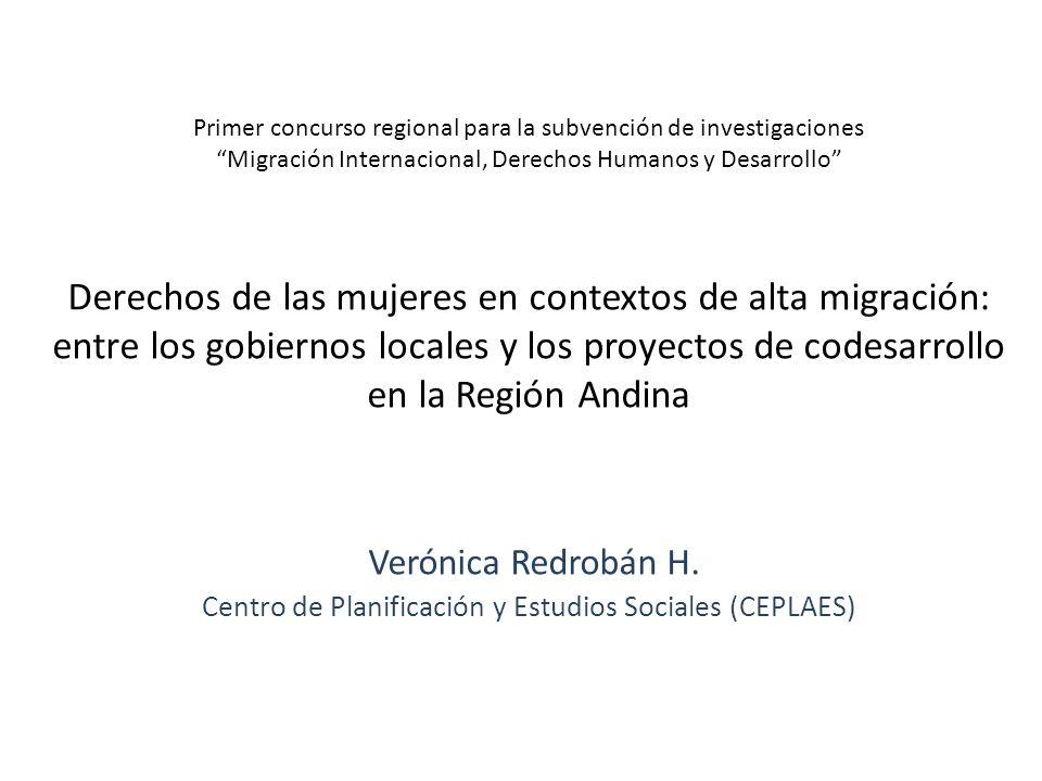 Primer concurso regional para la subvención de investigaciones Migración Internacional, Derechos Humanos y Desarrollo Derechos de las mujeres en conte