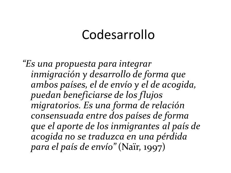 Codesarrollo Es una propuesta para integrar inmigración y desarrollo de forma que ambos países, el de envío y el de acogida, puedan beneficiarse de lo