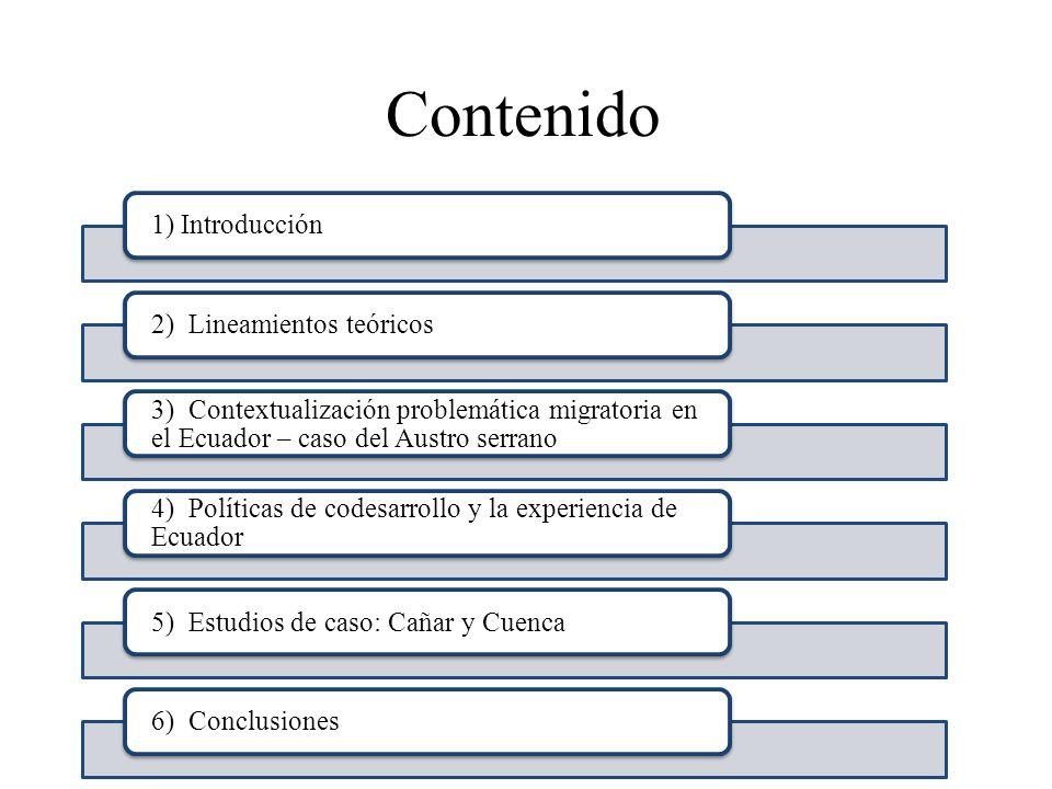 Contenido 1) Introducción2) Lineamientos teóricos 3) Contextualización problemática migratoria en el Ecuador – caso del Austro serrano 4) Políticas de
