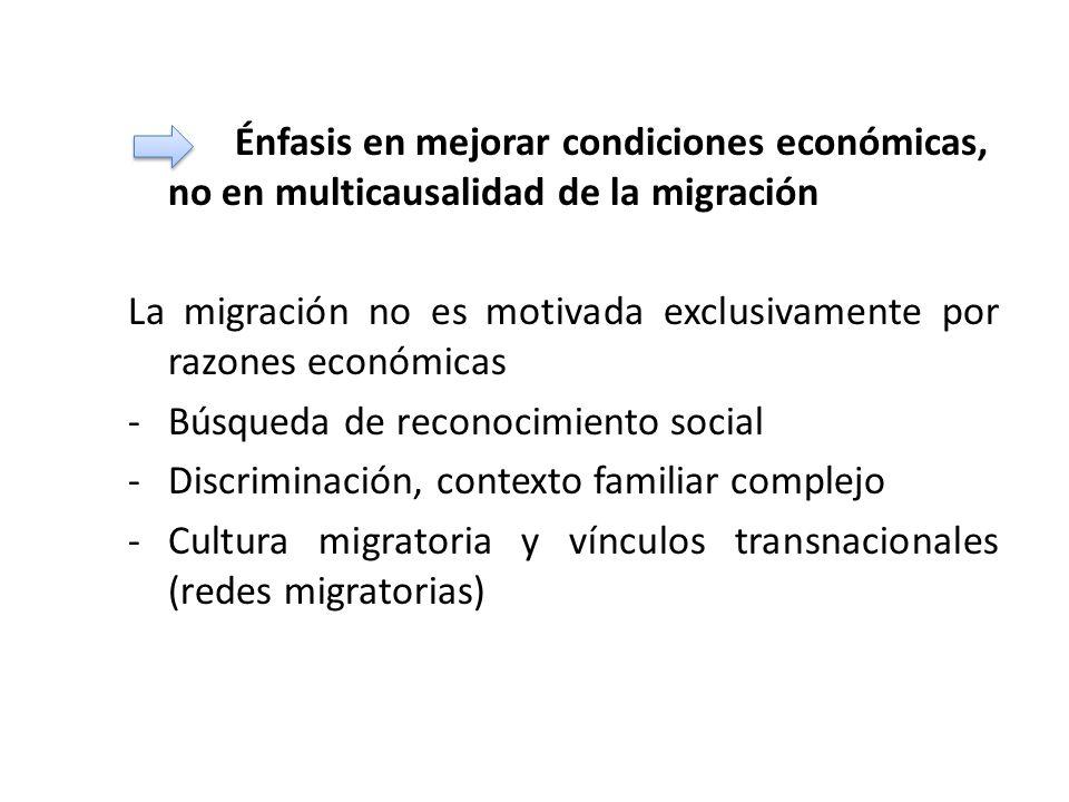 Énfasis en mejorar condiciones económicas, no en multicausalidad de la migración La migración no es motivada exclusivamente por razones económicas -Bú