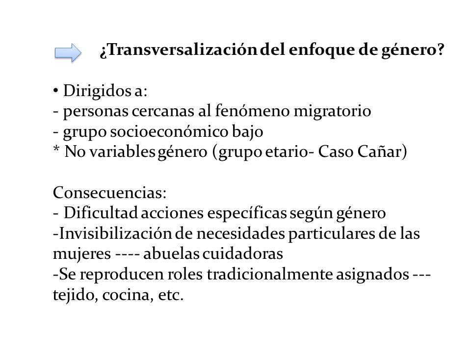 ¿Transversalización del enfoque de género? Dirigidos a: - personas cercanas al fenómeno migratorio - grupo socioeconómico bajo * No variables género (