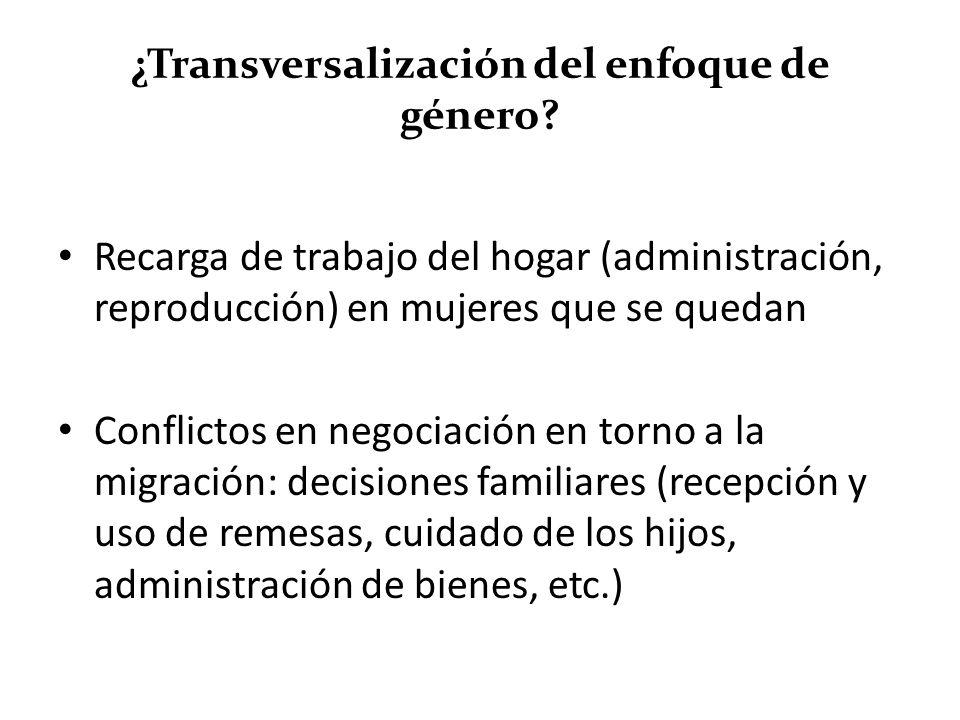 ¿Transversalización del enfoque de género? Recarga de trabajo del hogar (administración, reproducción) en mujeres que se quedan Conflictos en negociac