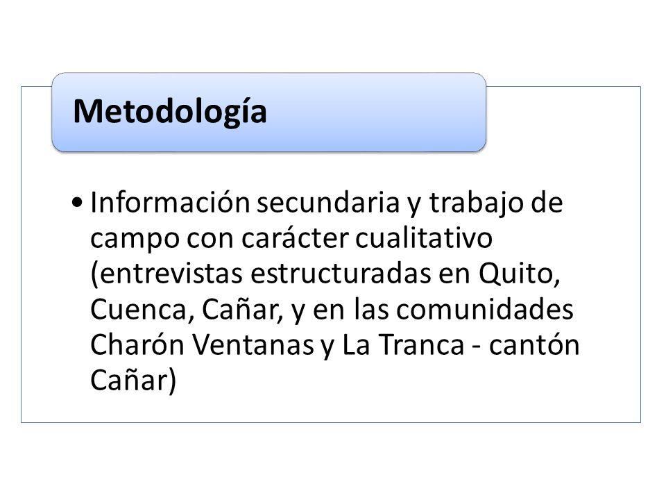Información secundaria y trabajo de campo con carácter cualitativo (entrevistas estructuradas en Quito, Cuenca, Cañar, y en las comunidades Charón Ven