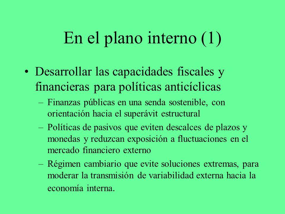 En el plano interno (1) Desarrollar las capacidades fiscales y financieras para políticas anticíclicas –Finanzas públicas en una senda sostenible, con