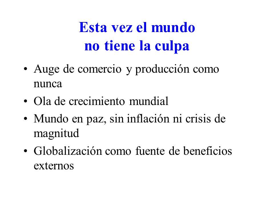 Esta vez el mundo no tiene la culpa Auge de comercio y producción como nunca Ola de crecimiento mundial Mundo en paz, sin inflación ni crisis de magnitud Globalización como fuente de beneficios externos