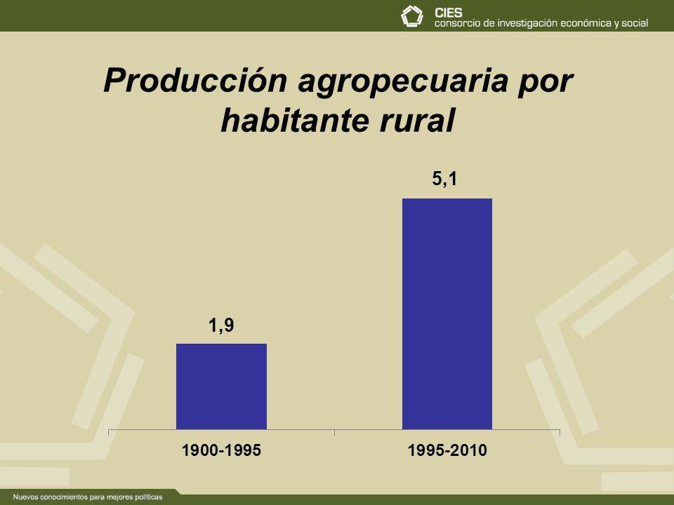 Producción agropecuaria por habitante rural