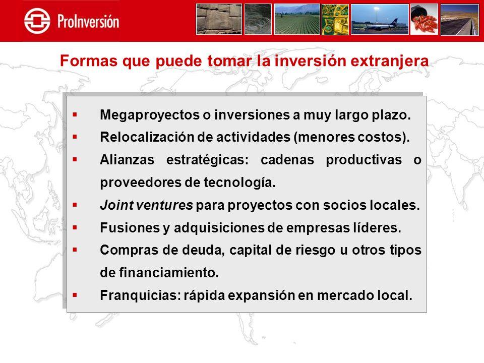 Megaproyectos o inversiones a muy largo plazo. Relocalización de actividades (menores costos). Alianzas estratégicas: cadenas productivas o proveedore