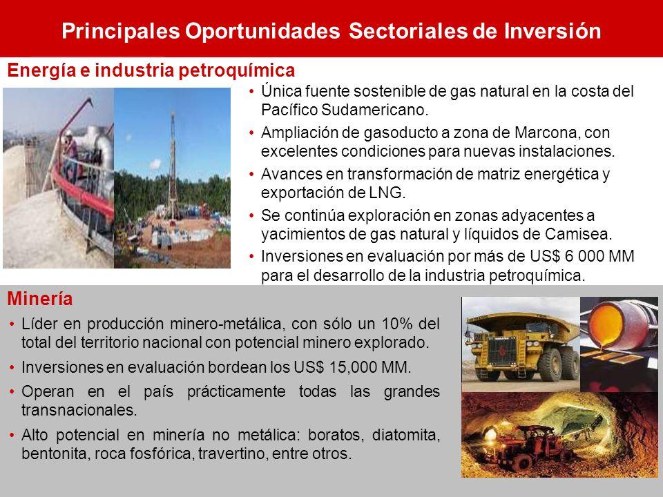 Principales Oportunidades Sectoriales de Inversión Única fuente sostenible de gas natural en la costa del Pacífico Sudamericano. Ampliación de gasoduc
