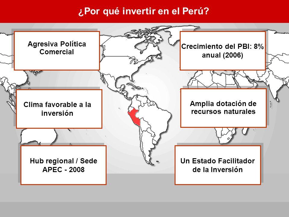 ¿Por qué invertir en el Perú? Crecimiento del PBI: 8% anual (2006) Amplia dotación de recursos naturales Agresiva Política Comercial Hub regional / Se