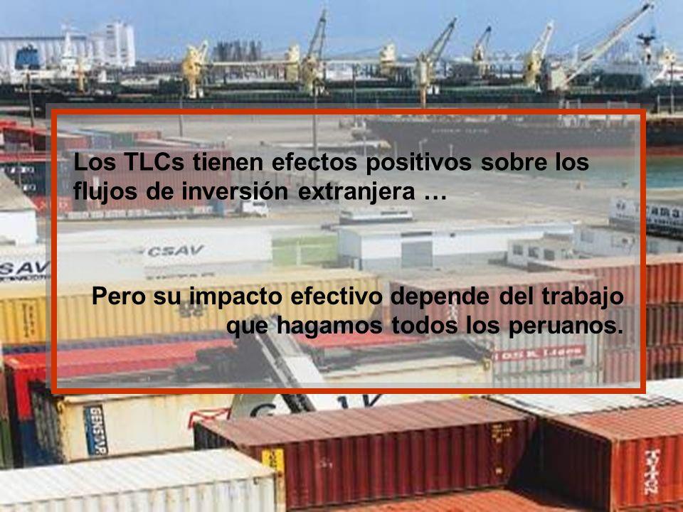Los TLCs tienen efectos positivos sobre los flujos de inversión extranjera … Pero su impacto efectivo depende del trabajo que hagamos todos los peruan