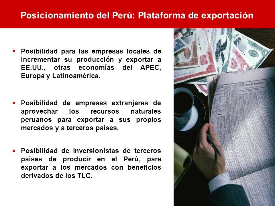 Posibilidad para las empresas locales de incrementar su producción y exportar a EE.UU., otras economías del APEC, Europa y Latinoamérica. Posibilidad