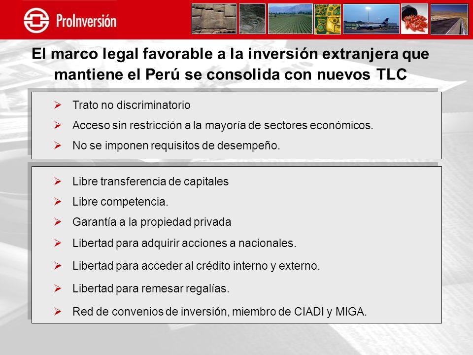 El marco legal favorable a la inversión extranjera que mantiene el Perú se consolida con nuevos TLC Trato no discriminatorio Acceso sin restricción a
