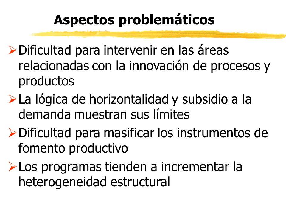 Dificultad para intervenir en las áreas relacionadas con la innovación de procesos y productos La lógica de horizontalidad y subsidio a la demanda mue