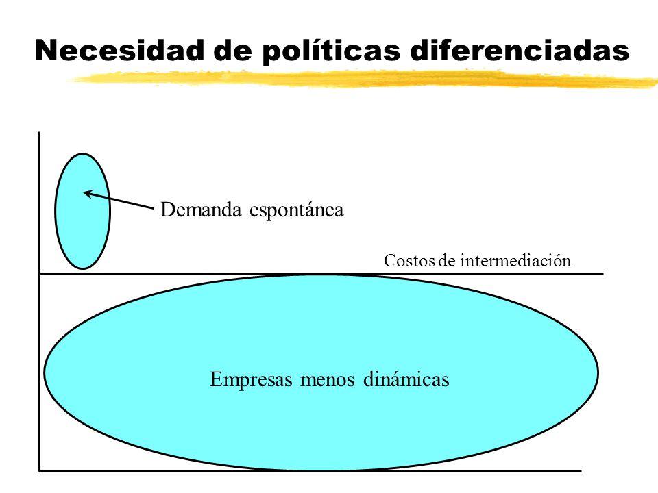 Necesidad de políticas diferenciadas Empresas menos dinámicas Demanda espontánea Costos de intermediación