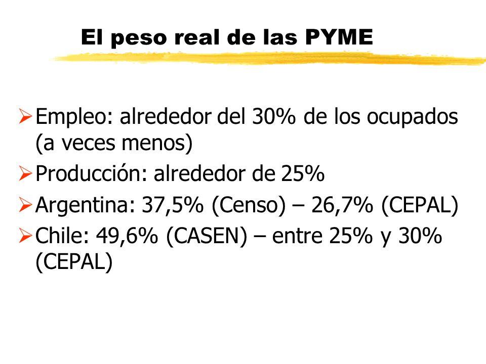 El peso real de las PYME Empleo: alrededor del 30% de los ocupados (a veces menos) Producción: alrededor de 25% Argentina: 37,5% (Censo) – 26,7% (CEPA