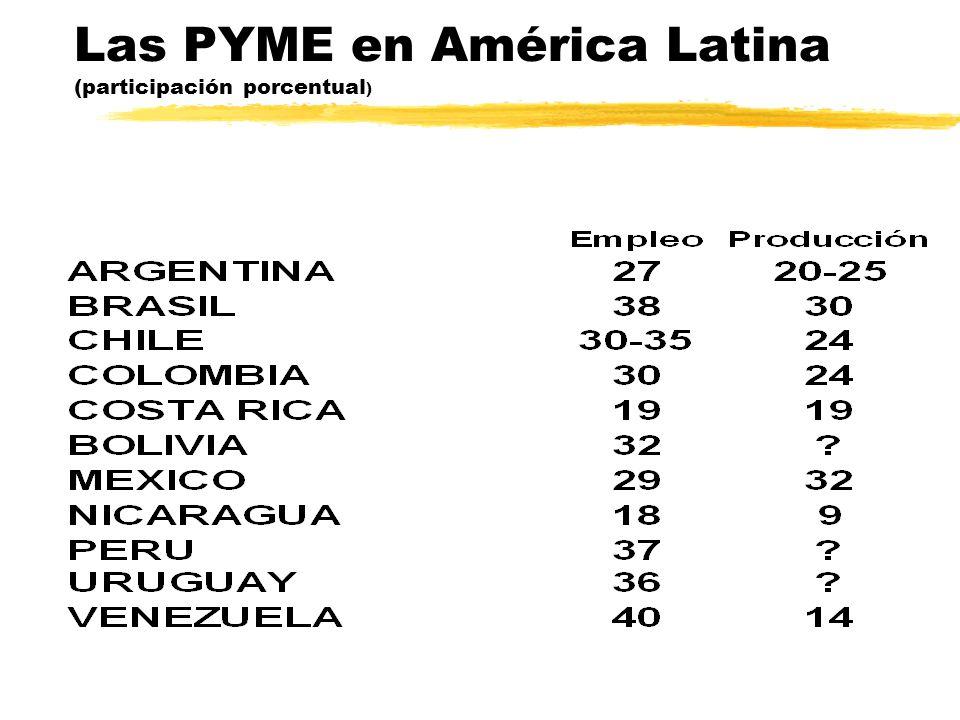 Las PYME en América Latina (participación porcentual )