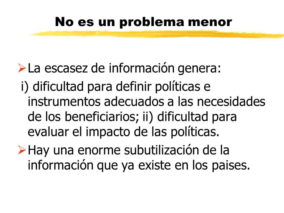 No es un problema menor La escasez de información genera: i) dificultad para definir políticas e instrumentos adecuados a las necesidades de los benef