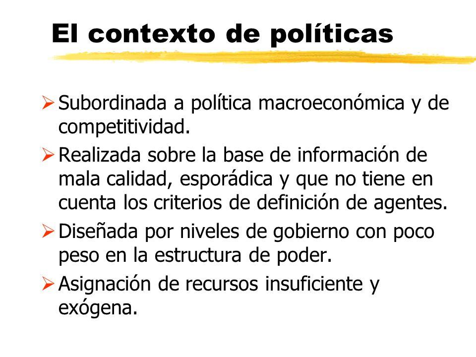 El contexto de políticas Subordinada a política macroeconómica y de competitividad. Realizada sobre la base de información de mala calidad, esporádica