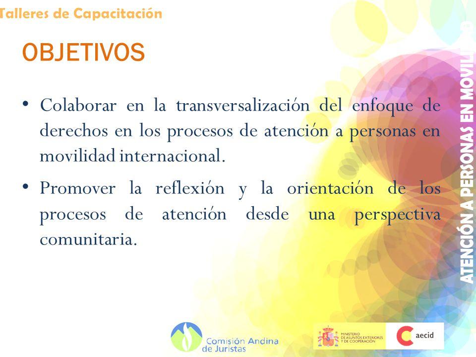 OBJETIVOS Colaborar en la transversalización del enfoque de derechos en los procesos de atención a personas en movilidad internacional. Promover la re