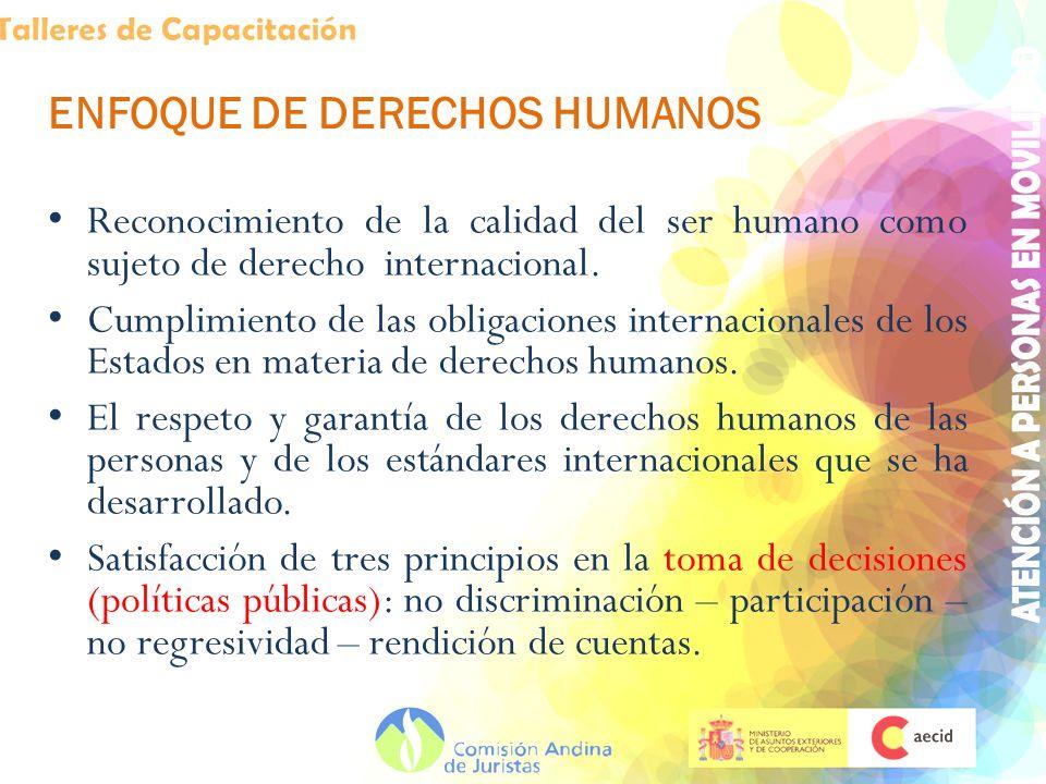 ENFOQUE DE DERECHOS HUMANOS Reconocimiento de la calidad del ser humano como sujeto de derecho internacional. Cumplimiento de las obligaciones interna