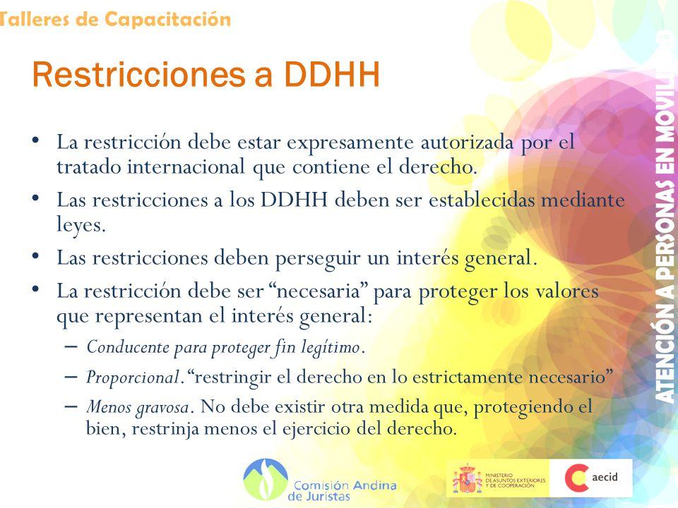 Restricciones a DDHH La restricción debe estar expresamente autorizada por el tratado internacional que contiene el derecho. Las restricciones a los D