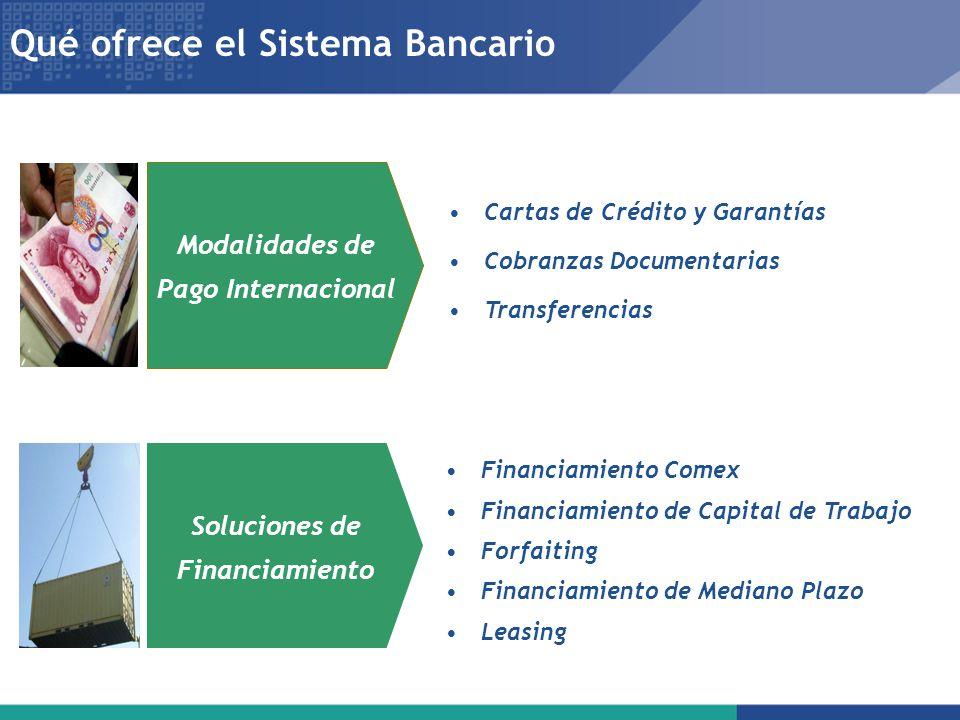 Qué ofrece el Sistema Bancario Financiamiento Comex Financiamiento de Capital de Trabajo Forfaiting Financiamiento de Mediano Plazo Leasing Cartas de