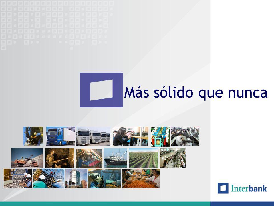 Estructura del Sistema Bancario COLOCACIONES COMERCIALES INDIRECTAS US$ MM COLOCACIONES COMERCIALES DIRECTAS A diciembre del 2007 las 20 principales empresas del sector representaron el 55% del total de las exportaciones en el 2007 y el 34% de las colocaciones en el sistema (US$ 290 MM) El número de empresas que realizaron exportaciones en el 2007 son 1,985