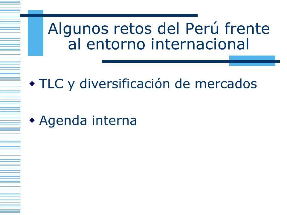 Algunos retos del Perú frente al entorno internacional TLC y diversificación de mercados Agenda interna