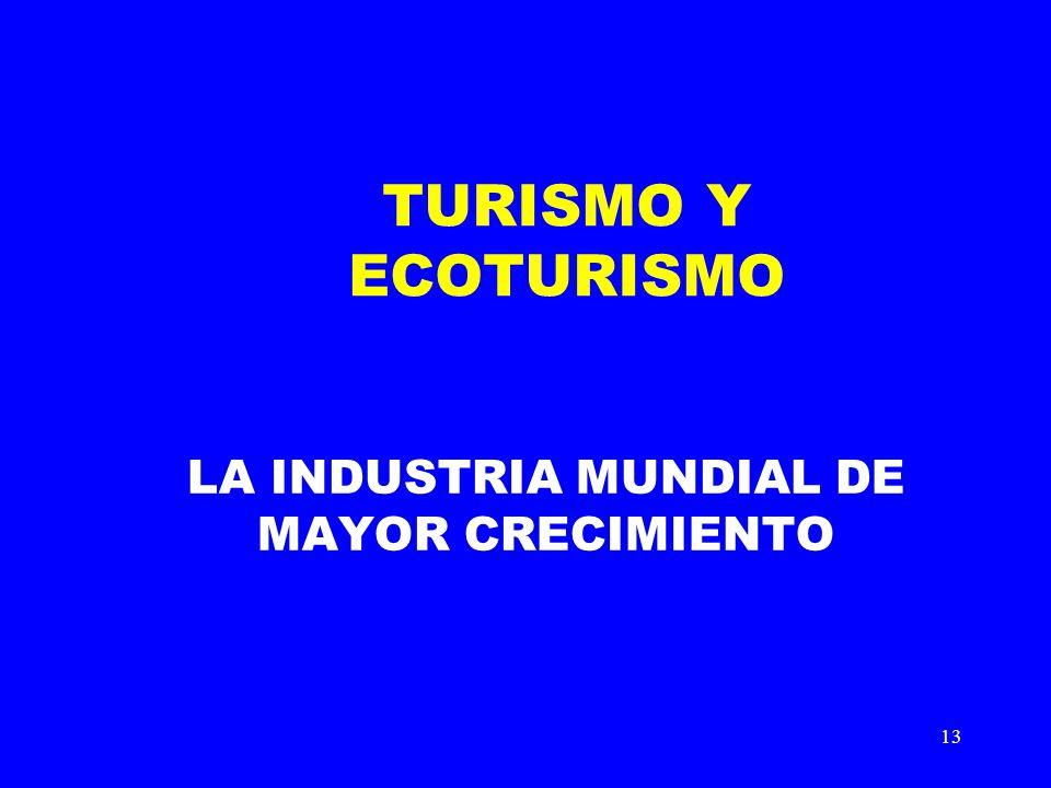 13 TURISMO Y ECOTURISMO LA INDUSTRIA MUNDIAL DE MAYOR CRECIMIENTO
