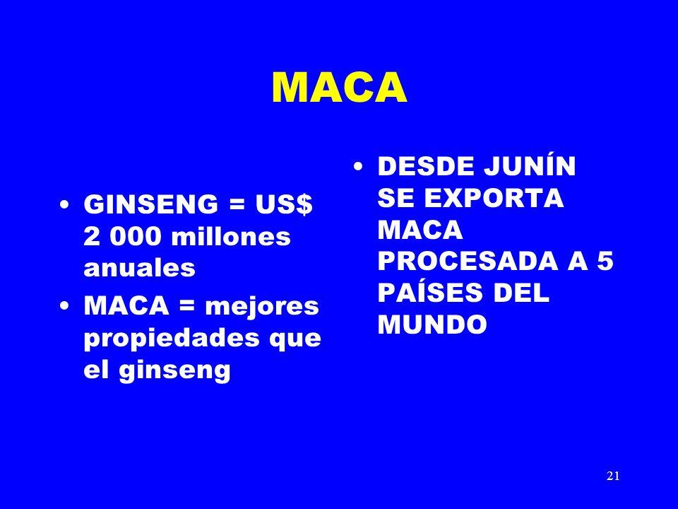 21 MACA GINSENG = US$ 2 000 millones anuales MACA = mejores propiedades que el ginseng DESDE JUNÍN SE EXPORTA MACA PROCESADA A 5 PAÍSES DEL MUNDO