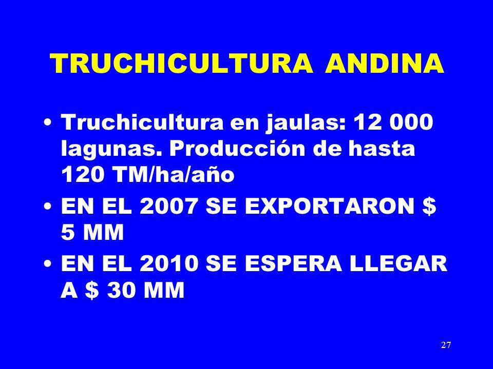 27 TRUCHICULTURA ANDINA Truchicultura en jaulas: 12 000 lagunas. Producción de hasta 120 TM/ha/año EN EL 2007 SE EXPORTARON $ 5 MM EN EL 2010 SE ESPER