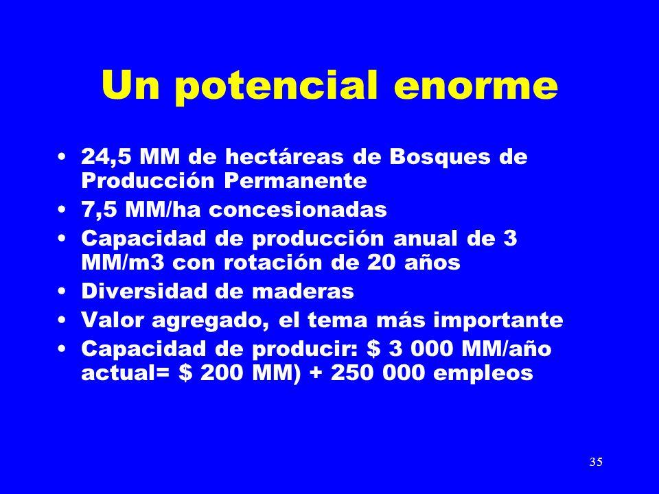 35 Un potencial enorme 24,5 MM de hectáreas de Bosques de Producción Permanente 7,5 MM/ha concesionadas Capacidad de producción anual de 3 MM/m3 con r