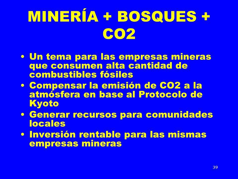 39 MINERÍA + BOSQUES + CO2 Un tema para las empresas mineras que consumen alta cantidad de combustibles fósiles Compensar la emisión de CO2 a la atmós