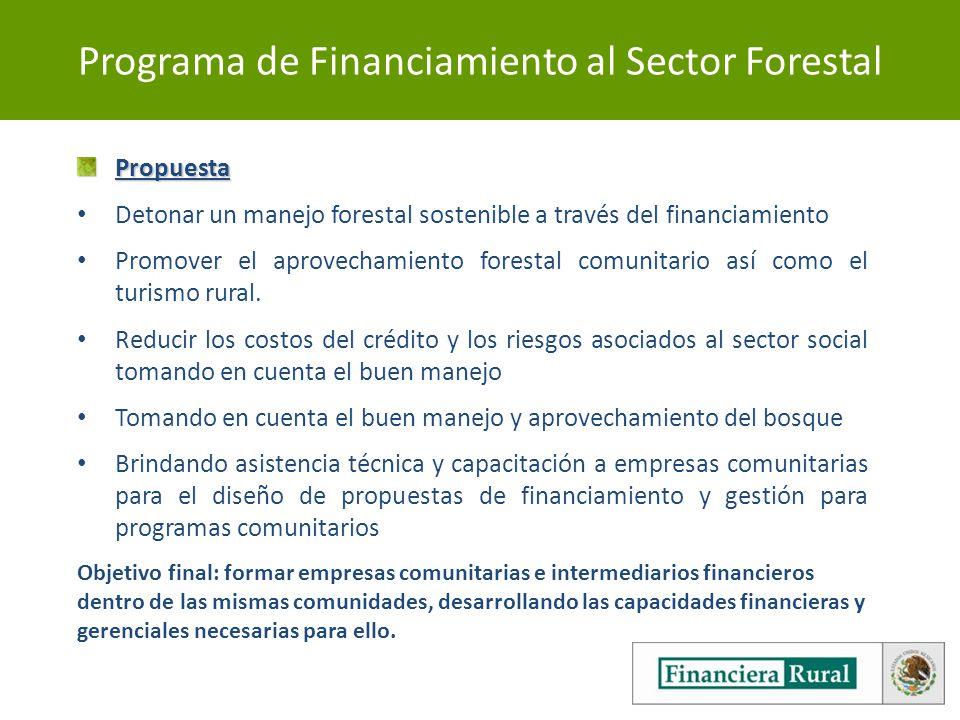Programa de Financiamiento al Sector ForestalPropuesta Detonar un manejo forestal sostenible a través del financiamiento Promover el aprovechamiento forestal comunitario así como el turismo rural.