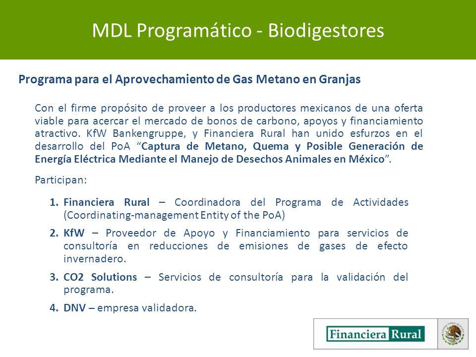 MDL Programático - Biodigestores Programa para el Aprovechamiento de Gas Metano en Granjas Con el firme propósito de proveer a los productores mexicanos de una oferta viable para acercar el mercado de bonos de carbono, apoyos y financiamiento atractivo.