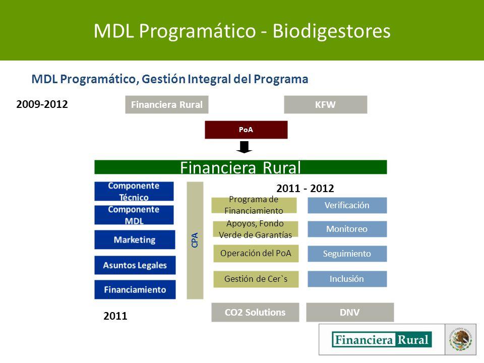 MDL Programático - Biodigestores Financiera Rural CPA Apoyos, Fondo Verde de Garantías Monitoreo PoA KFW Operación del PoA Gestión de Cer`s Seguimiento Inclusión Programa de Financiamiento Verificación 2011 - 2012 MDL Programático, Gestión Integral del Programa CO2 Solutions DNV 2011 2009-2012