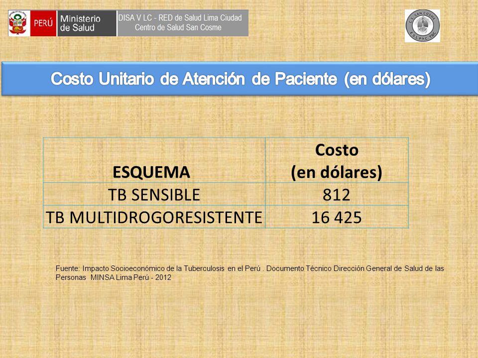 Fuente: Impacto Socioeconómico de la Tuberculosis en el Perú.