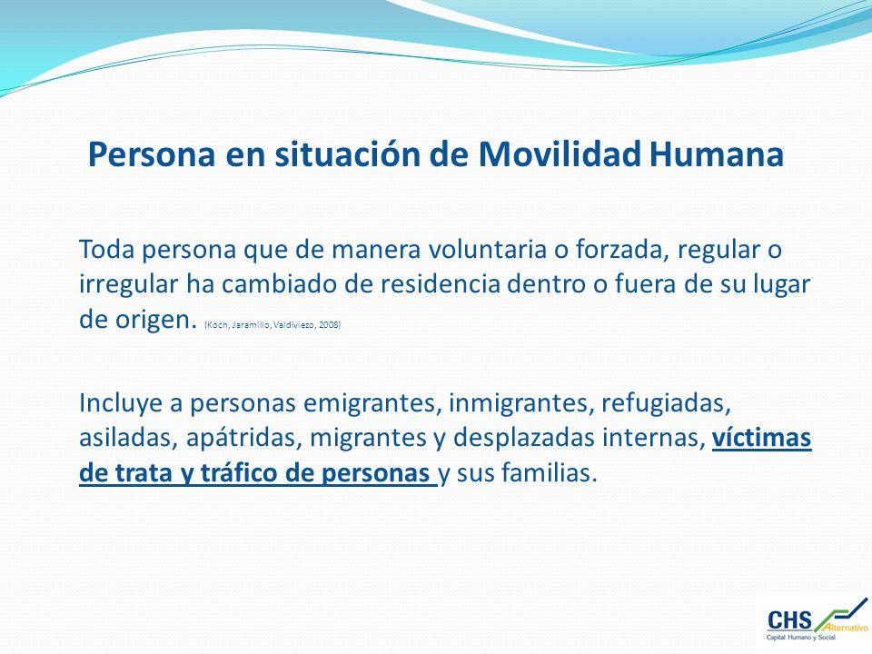 Persona en situación de Movilidad Humana Toda persona que de manera voluntaria o forzada, regular o irregular ha cambiado de residencia dentro o fuera